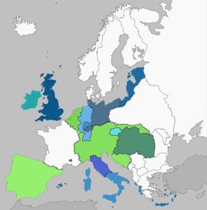 Nationstates the kingdom of apostolic hungary factbook location blue holy roman empire light green habsburg realms dark green hungary gumiabroncs Choice Image